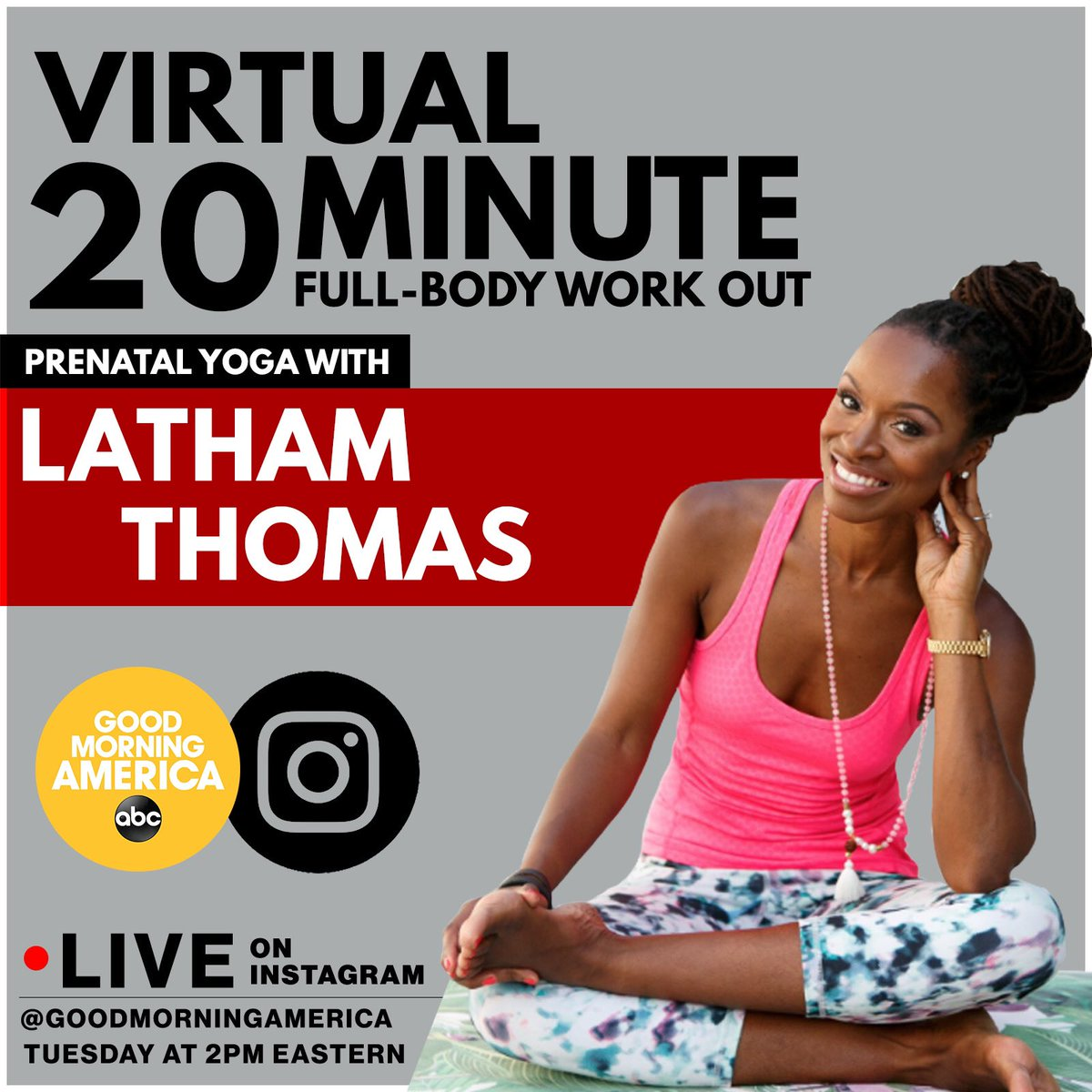 Let's yoga! Take a break tomorrow and join us at 2pm eastern live on @GMA Instagram 🧘🏾‍♀️