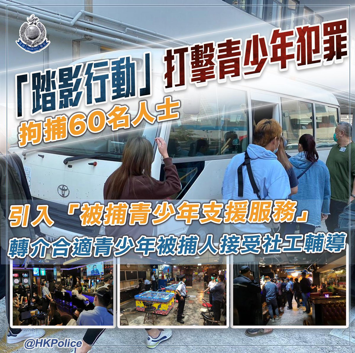 【 Operation STEPSHADOW to combat juvenile delinquency in Tuen Mun District • 60 males and females arrested 】