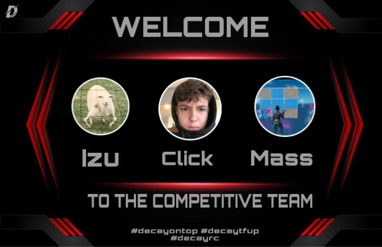 Tag people we should recruit - - - - - - - - - - - - - - - - - - -  Player - @clixfnm @izuroufnm @massfnm  Team - @decayesporrts — — — — — — — — — — — — Instagram- officialteamdecay  — — — —  tags  — — — —  #fortniteclips #fornitemobile #fortniteskincombos #decayrc #decaytfuppic.twitter.com/A3l27DYdZb