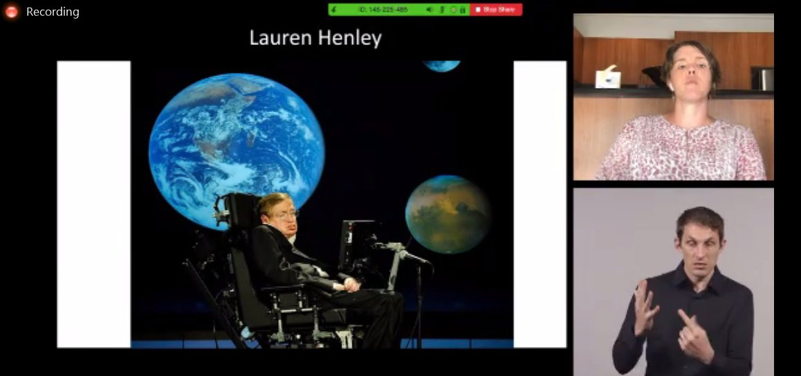 Great to hear from Lauren Henley @COTAAustralia  Vic re #AssistiveTechnology  for All campaign - see  http://www.cotavic.org.au/policy/assistive-technology/  … #virtualdisability2020  @ARATA_Inc  @RAILMonash  @LaytonNatasha  [image description: Lauren on screen, with an Auslan interpreter & an image of Stephen Hawking]