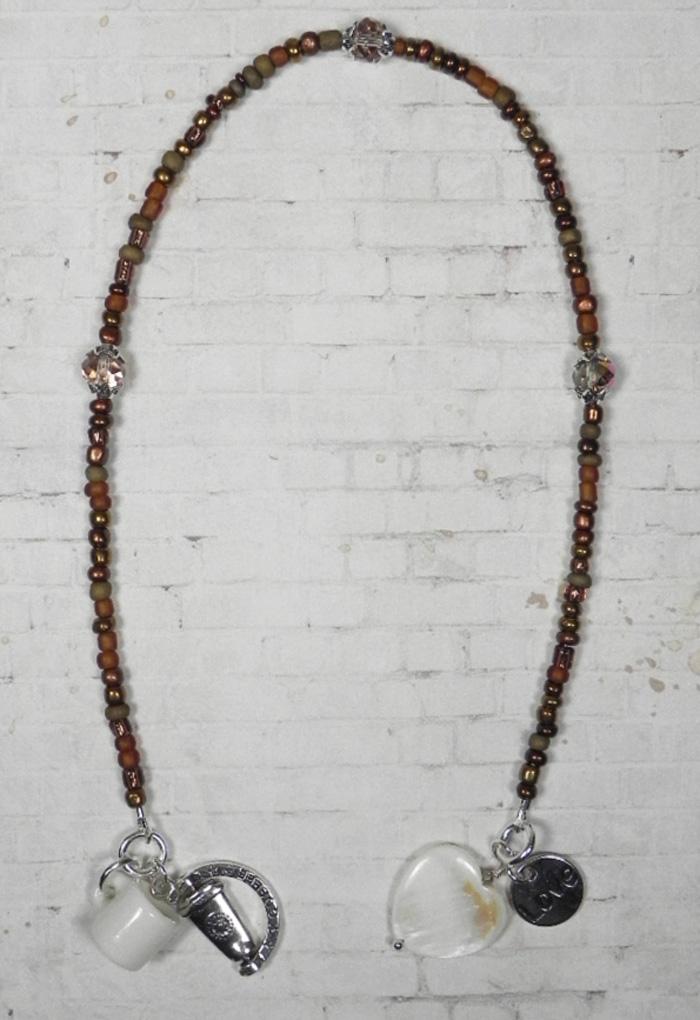 Love Coffee Seed Bead Crystal Shell Handmade Beaded Bookmark Brown White New  @eBay #gifts #handmadewithlove #shopsmall #buyhandmade