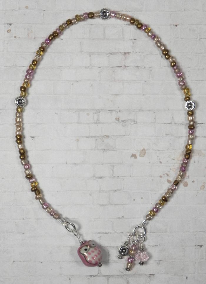 Owl Ceramic Silver Flower Seed Bead Handmade Beaded Bookmark Pink Champagne New  @eBay #gifts #shopsmall #buyhandmade #handmadebyme