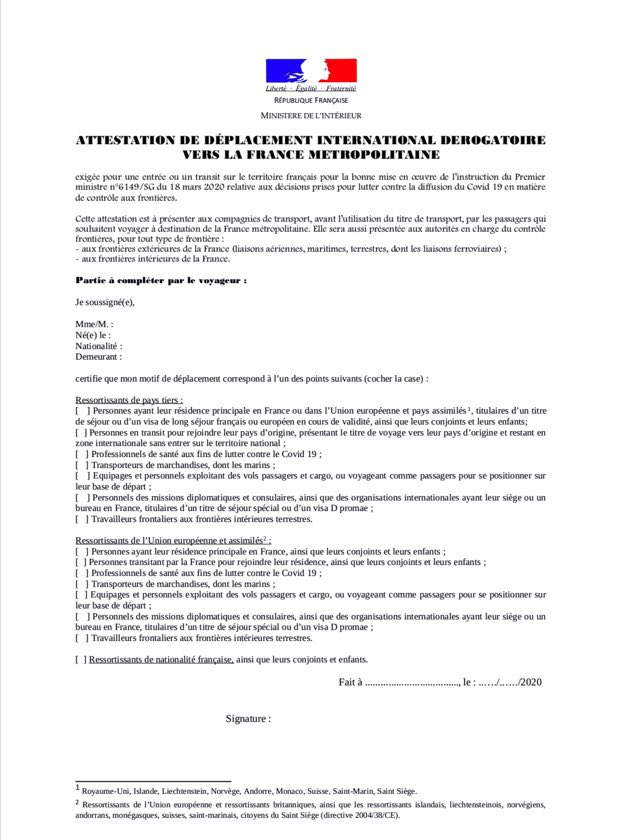 Irish Embassy Paris On Twitter Covid19 New Requirement For Those Entering France From Abroad For Transit Or Travel Home Fill In The New Attestation De Deplacement International Form Before You Travel