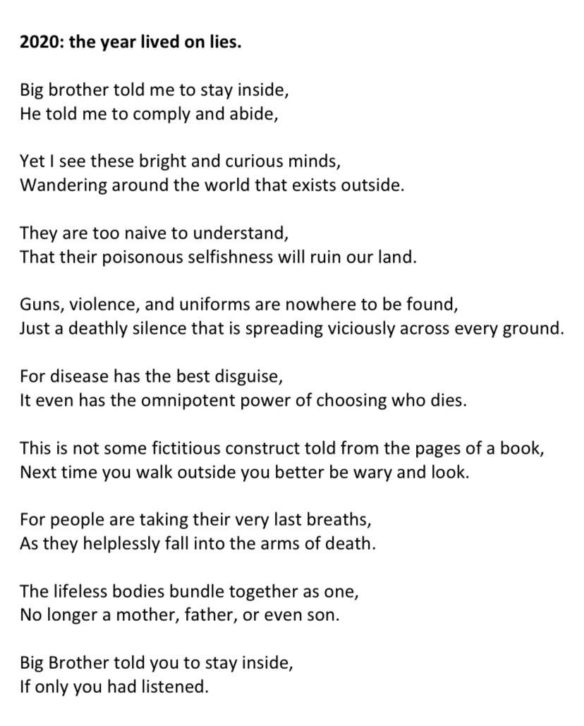 Poetry has the power to inspire change unlike any other art form... stay home and save lives!! We would love to hear what you think about this poem!! #WorldHealthDay #lockdowneffect #StayHomeSaveLives #connectpic.twitter.com/ZsAzMWyiKj