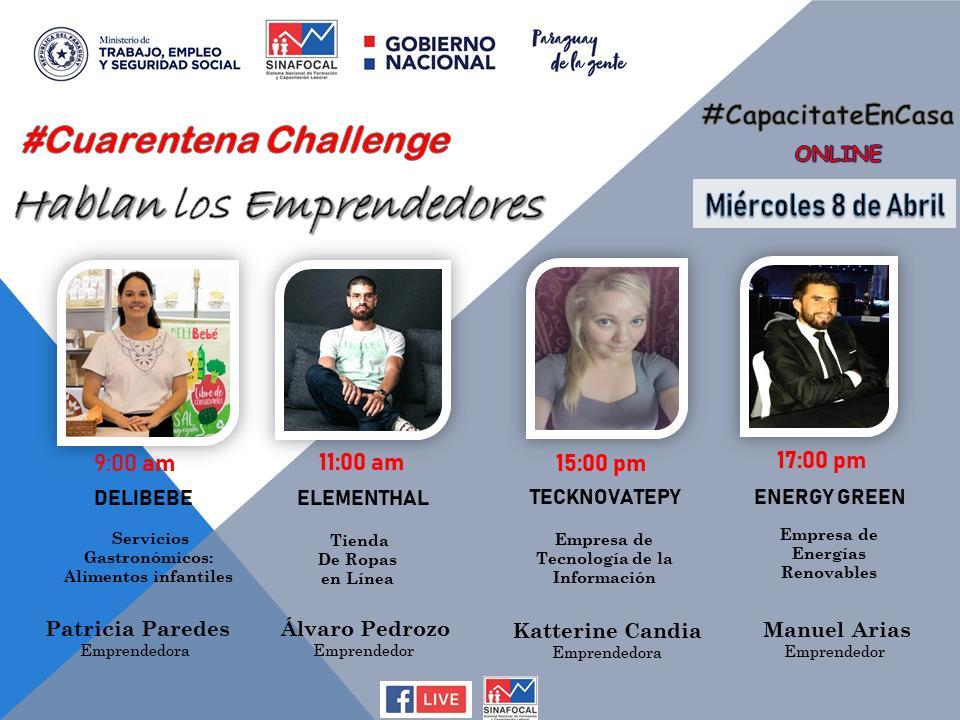 Cuarentena Challenge!! No te pierdas!! Hablamos con los emprendedores el Miércoles 8 de Abril !! https://t.co/0mS3d5f1Rf