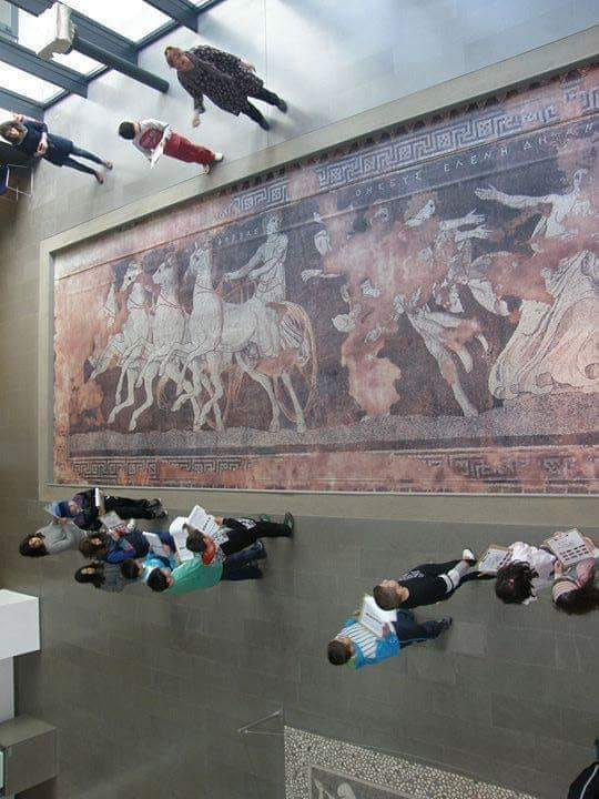 Mosaic floor depicting the abduction of Helen displayed in the Arch.Museum of Pella in Greece.