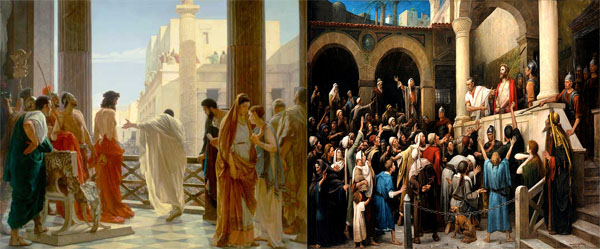 Castillo Lastrucci se inspiró en estos dos lienzos para representar la Presentación al Pueblo, izq. del artista Antonio Ciseri (Palacio Pitti de Florencia). A la der. la de Mihaly Munkacsy (Museo Deri en Debrecen).  ¿En cual de ellos pensáis que se fijó más? #SanBenito20.pic.twitter.com/GpnMo8cQIC