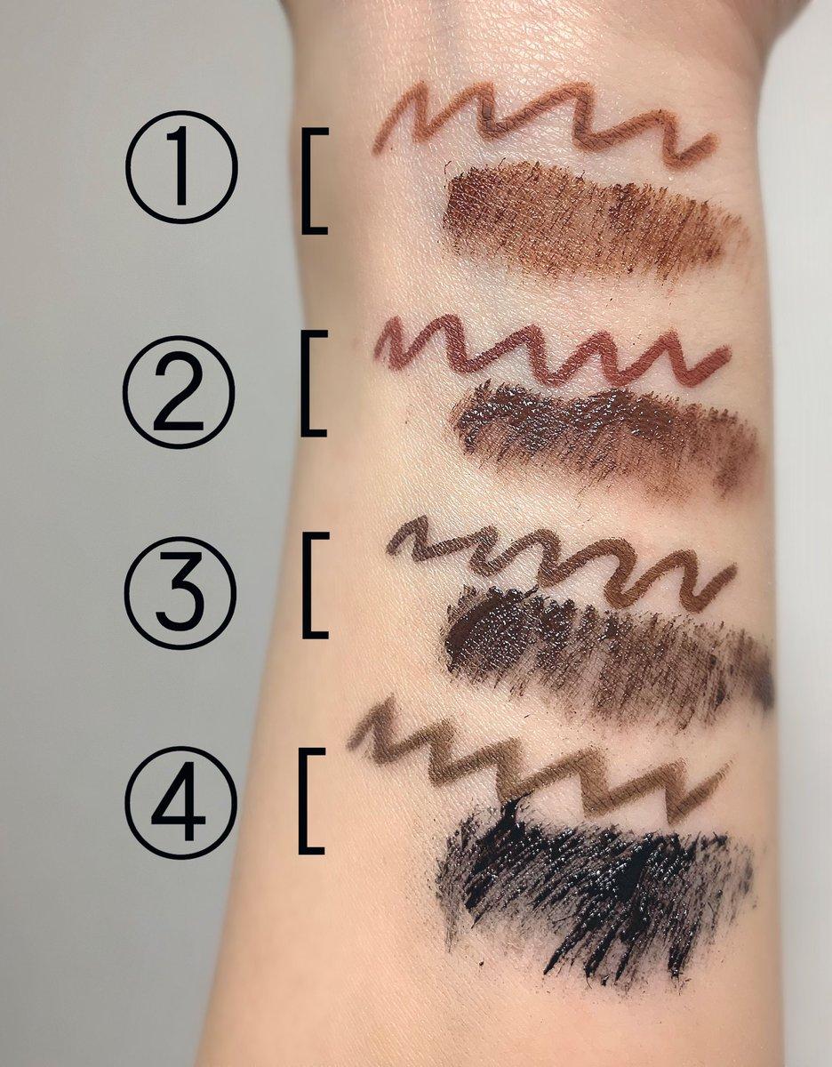 最近よくやるアイラインとマスカラの組み合わせ!必ず同色orアイラインがマスカラより濃くならないように意識しています。同色でまとめるとシャドウで違う色を使ってもアイメイクにすごく統一感が出る感じがする。マスカラに濃い色を使うとまつ毛がより強調されるし目に立体感が出る気がしている…
