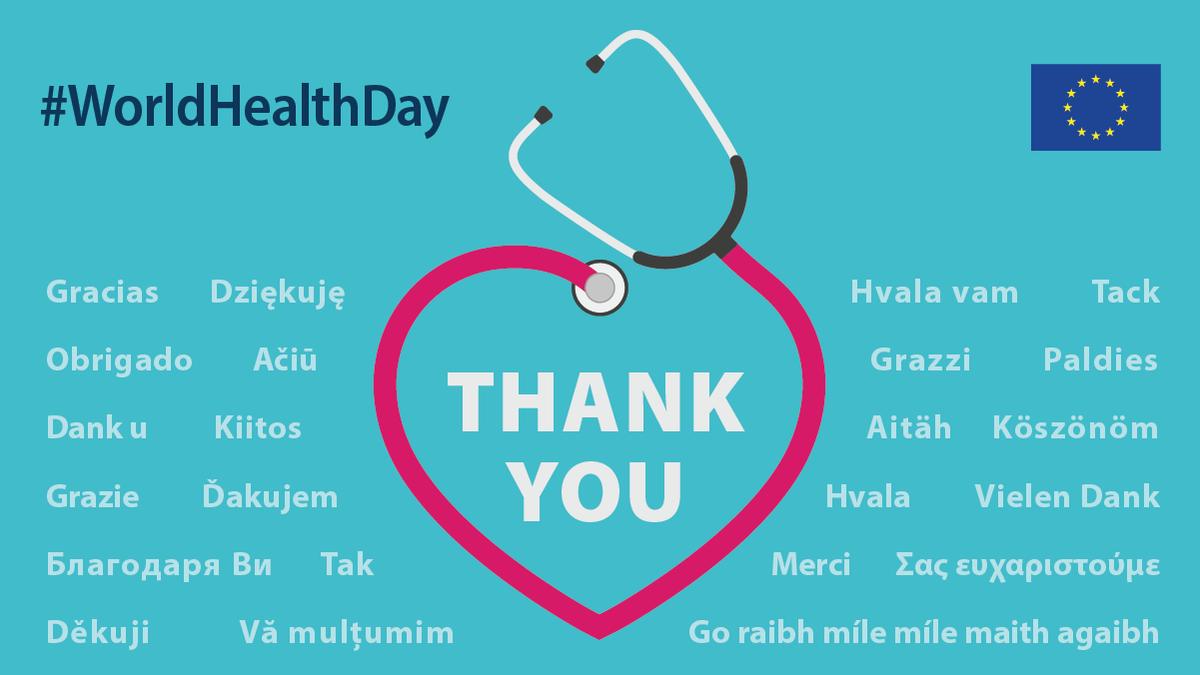 """#DíaMundialDeLaSalud → """"Tenemos la suerte de contar con los mejores profesionales sanitarios del mundo, en Madrid y Milán, y en muchas otras localidades obrando milagros cada día"""" @vonderleyen   Hoy más que nunca, ¡GRACIAS! 🤝 👩⚕️👨⚕️  #StrongerTogether contra el #coronavirus"""