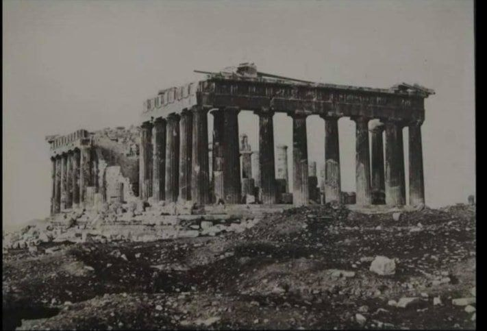 The earliest known photograph of the Parthenon from late 1839.