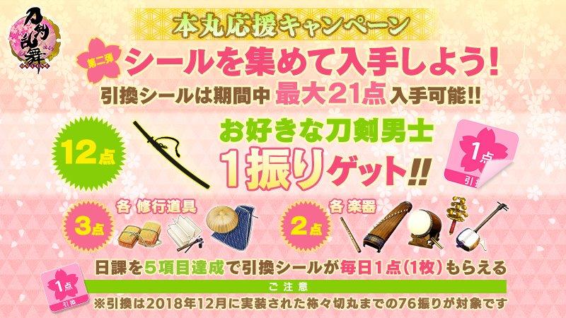 (1/3)【「本丸応援キャンペーン」第二弾開催!】メンテナンス終了時より、「本丸応援キャンペーン」の第二弾を開催します。第二弾では、日課任務を5項目達成することで、毎日1枚「引換シール」を入手できます。<入手期間>4月7日(火)メンテナンス終了時~4月28日(水)朝4:59#刀剣乱舞 #とうらぶ