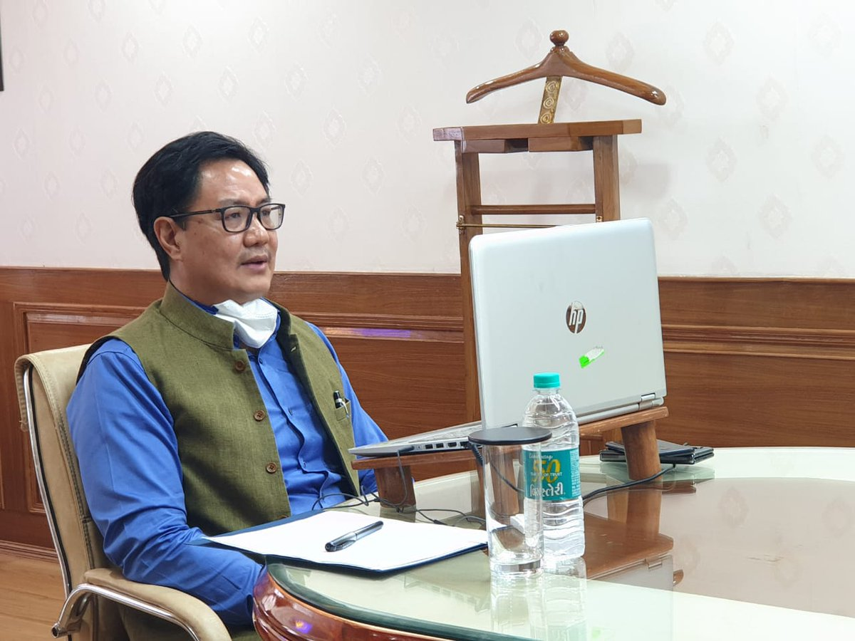 At the review meeting chaired by @kirenrijiju with senior SAI officials, he was briefed that elite athletes are being monitored by TOPS team for 1) How they are maintaining weight 2) How they are staying connected to their coach, nutritionist, strength and conditioning experts.