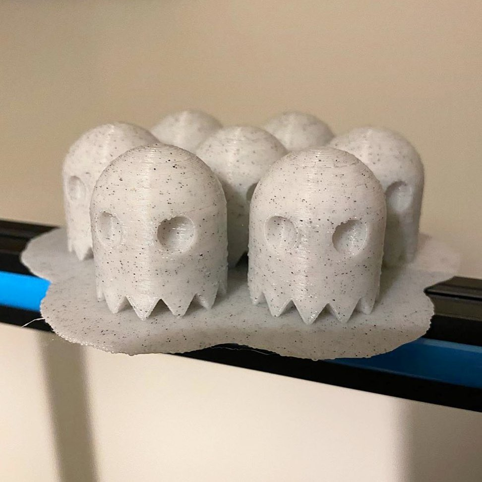 A raft of little ghosts in hashtag #eSUN eMarble PLA by @3d__encounter. The #Marble PLA is tough and definitely has less stringy.  Enjoy the special appearance here:    #ghost #3dprinting  #minitures
