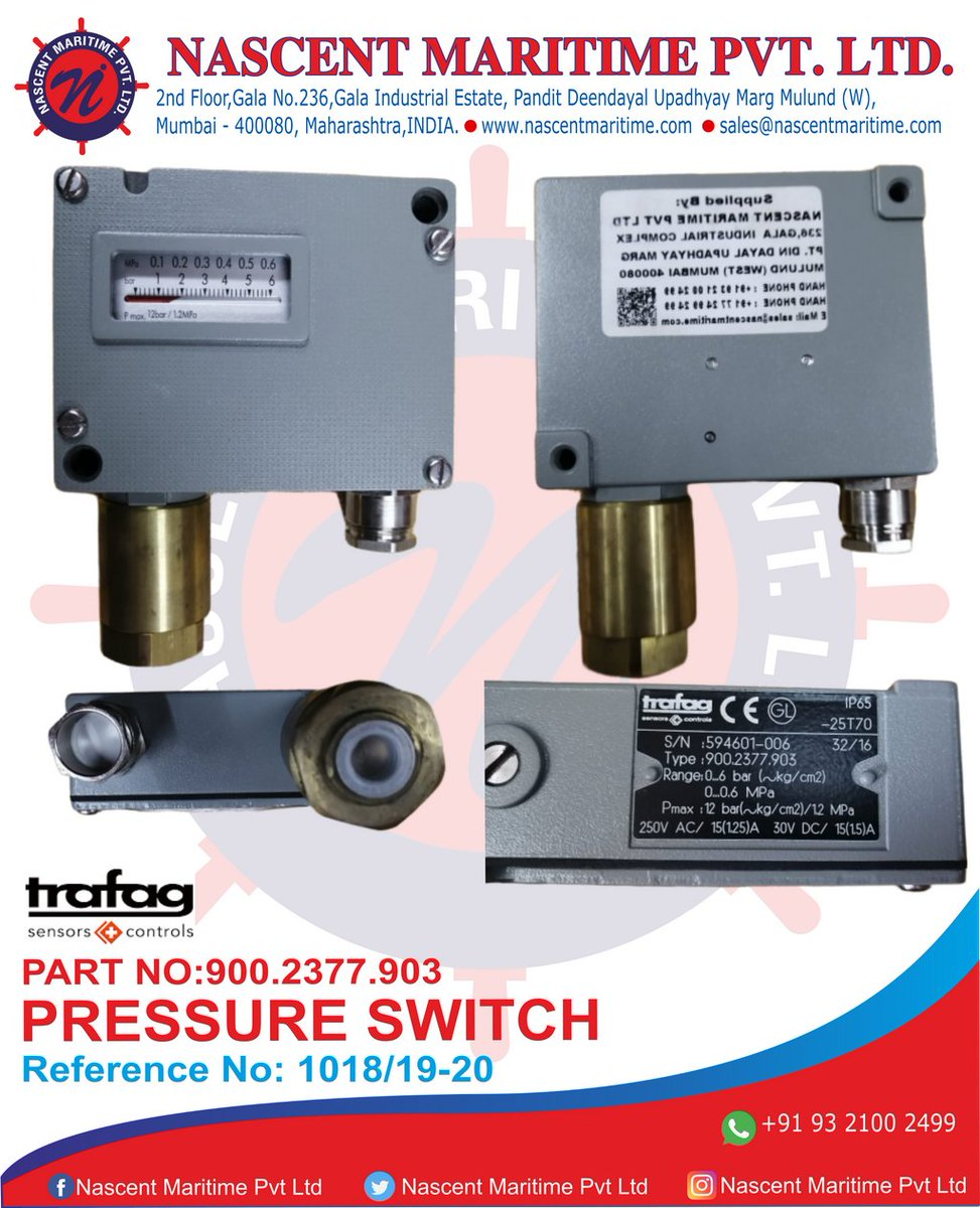 REFERENCE NO:-1018A PRESSURE SWITCH PART NO:-900.2377.903  Website:- http://www.nascentmaritime.com/  Facebook:-https://www.facebook.com/nascentmaritimepvt.ltd … Instagram:- https://www.instagram.com/nascentmaritimepvtltd/ … Linkedin:-https://www.linkedin.com/company/nascentmaritimepvtltd … Pinterest:-https://in.pinterest.com/nascentmaritimepvtltd/ … Email-Id:- sales@nascentmaritime.compic.twitter.com/QN7gSN2n6t