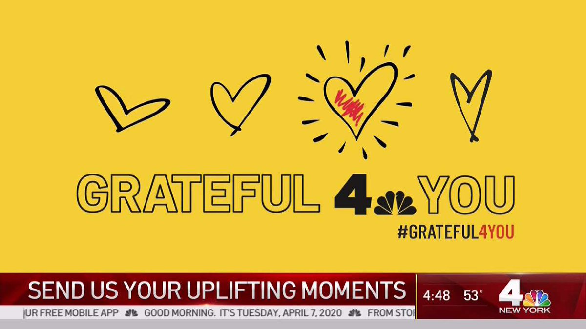 Hey Everyone! We want you to share your uplifting stories of people and places you are grateful for during these tough times. Just make sure to use #Grateful4You with your post so we don't miss it!  #nbc4ny pic.twitter.com/Qf30kqXioe