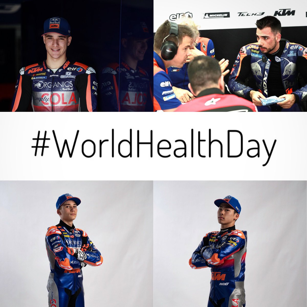 More important than ever in these days 🙌🏻 Stay healthy and #StayAtHome 🙏🏻 #WorldHealthDay #KTM #Tech3 #Moto3 #IL27 #MO88 #DO53 #AS71 #MotoGP @MotoGP #OrganicsByRedBull