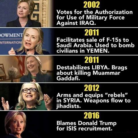 Pantsuit Pinochet is a bigger warmonger than any of the whores in the picture. I won't even go into her history of things like aiding in the military overthrow of a democratically elected government, ie. Honduras. Take all the seats. pic.twitter.com/3oLF3UvXXW