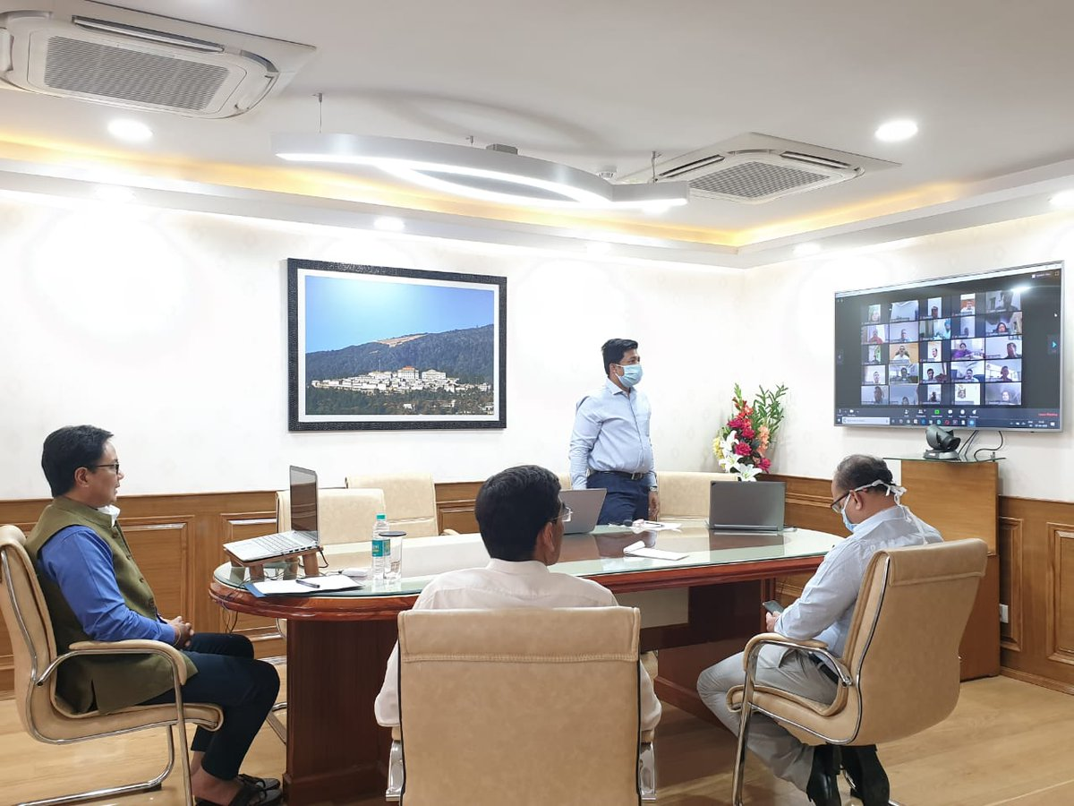 At SAI HQ efforts are on to use the lockdown effectively. @KirenRijiju was briefed that 1) All new assistant directors at SAI are being trained through digital workshops 2) Video Meetings are being held with NSFs, stakeholders to discuss  equipment procurement, Olympic plan, etc.pic.twitter.com/nZ7pNB71eM