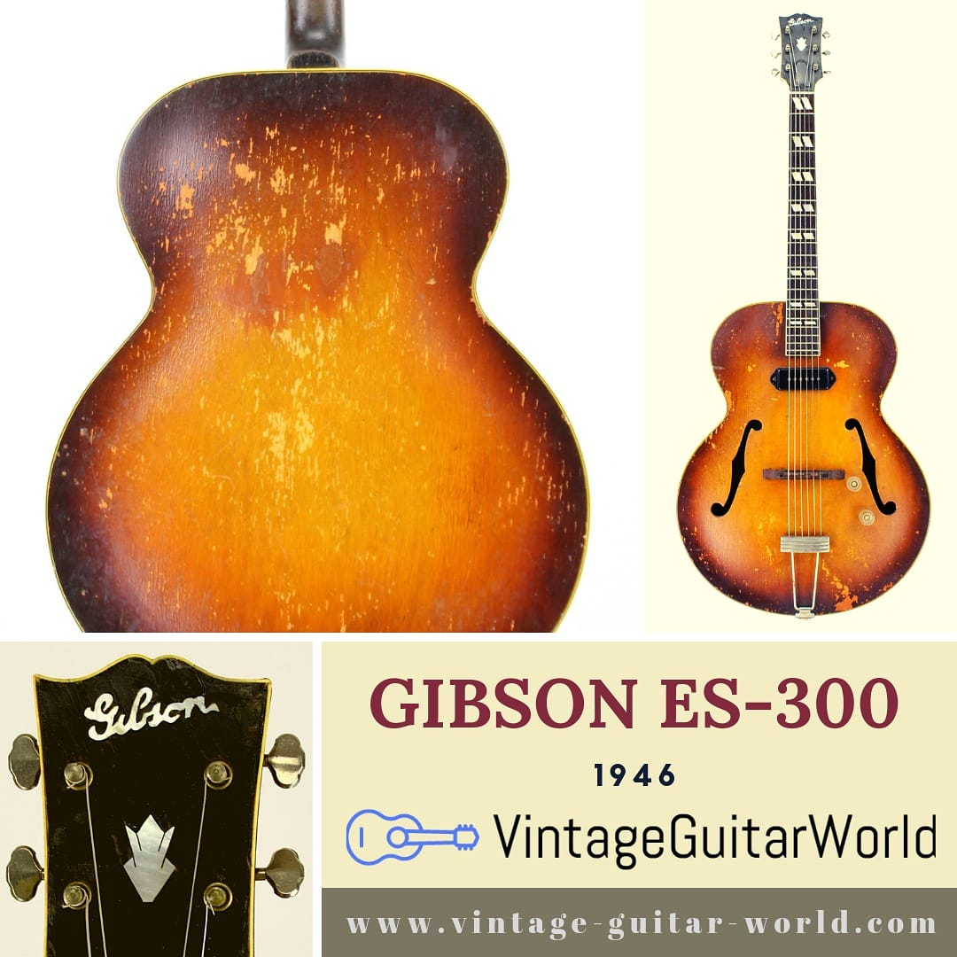 Gibson ES-300 1946 - a cool vintage Gibson  It has this special and magical vintage sound you are searching for.  Check on:  http://www.vintage-guitar-world.com/shop . #VintageGibson #GibsonES #Archtop #AcousticElectric #ElectricGibson #GibsonGuitarpic.twitter.com/0Hdb4HlfUz