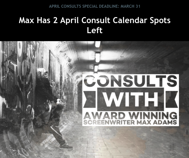 Last Call: Deadline for April #screenplay/#teleplay consult bookings is March 31. There are two April calendar spots left. #afwnews #scriptnews #screenwriter #screenwriting #writing #writingcommunity https://classes.theafw.com/pages/consultspic.twitter.com/NzgBxegzsM