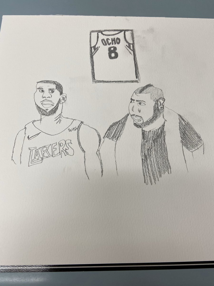"""#losart4 At work so I don't know if there are any guidelines but I made a quick sketch of Mohawk Los next to LeBron. Peep the """"Ocho"""" Jersey in the back too. @LosPollosTV<br>http://pic.twitter.com/U1GABJsMLe"""