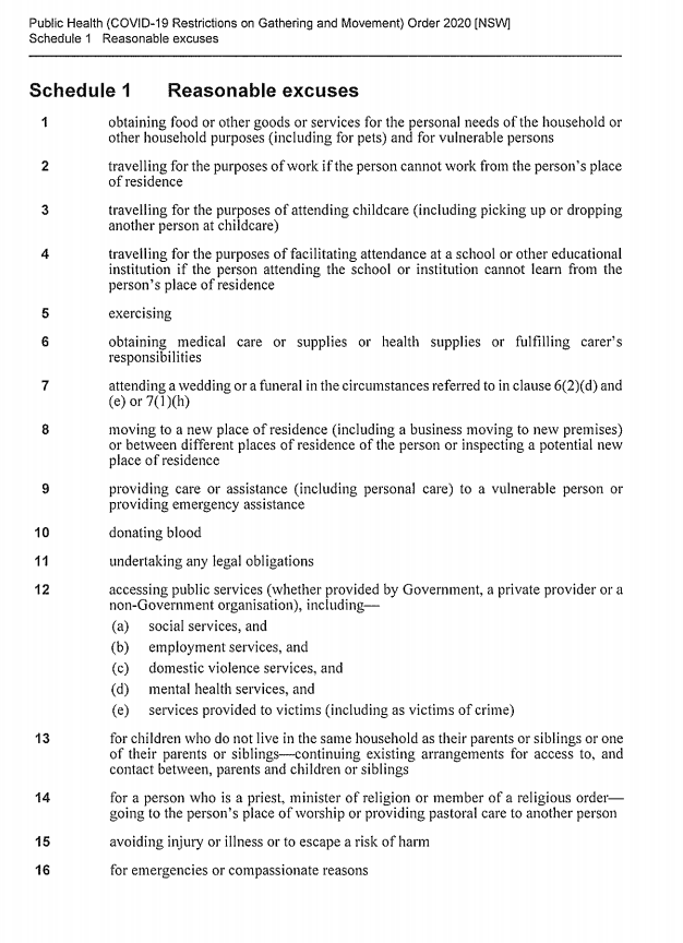 These are the reasonable excuses for leaving home as listed in the Public Health (COVID-19 Restrictions on Gathering and Movement) Order 2020 issued last night by the NSW government: