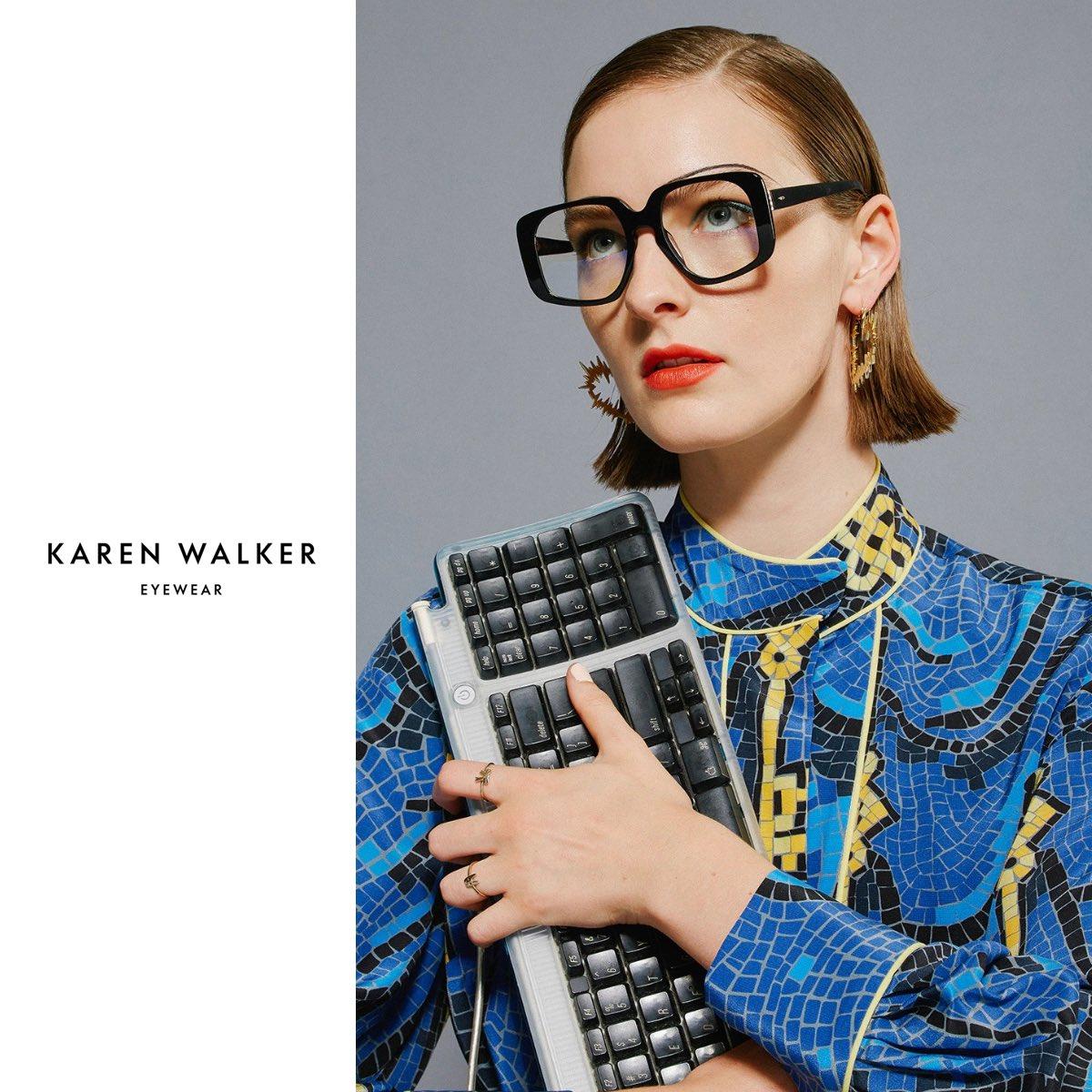 "#Workfromhome be like • #KarenWalker -""Amna"" Blue Light filtering lenses  Eyewear Distributed by @quad22_thailand  #sunglassses #eyewear #meneyewear #quad22 #quad22thailand #womeneyewear #KarenWalkerEyewear #WFH #โควิค19"