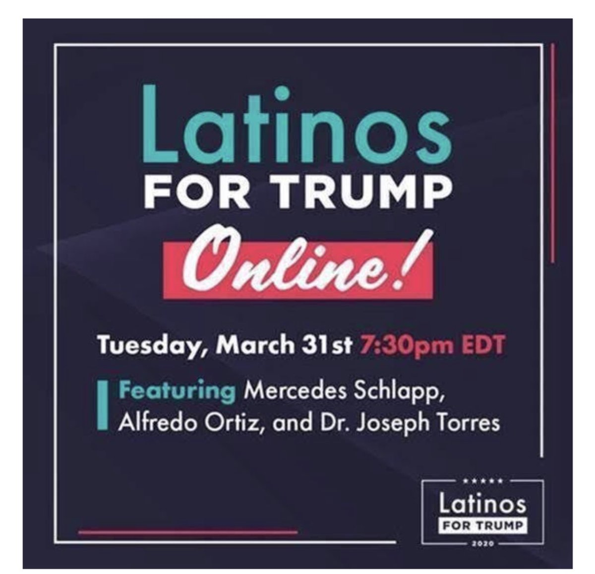 Friends/family join us tomorrow for an online event featuring Senior Advisor Mercedes Schlapp, Alfredo Ortiz, and Dr. Joseph Torres.This online event will be a panel discussion where we discuss President Trump's response to COVID-19 and outlook for our community #LatinosForTrump pic.twitter.com/WEhQXSkaR6