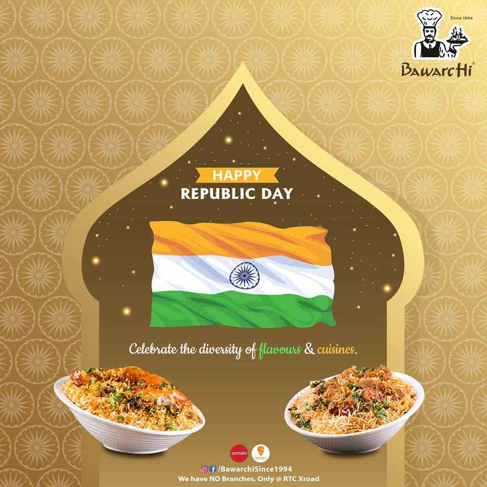 #RepublicDay #RepublicDayIndia #Democracy #Constitution #Perfection #BawarchiRestaurant #AsliSwaad #AsliHyderabadi  Happy Republic Day🇮🇳 Celebrate the Diversity of Flavors & Cuisine.  Note: We have NO Branches | Beware of Fake Bawarchi! Location: RTC X Road https://t.co/O5WCWoo2SN