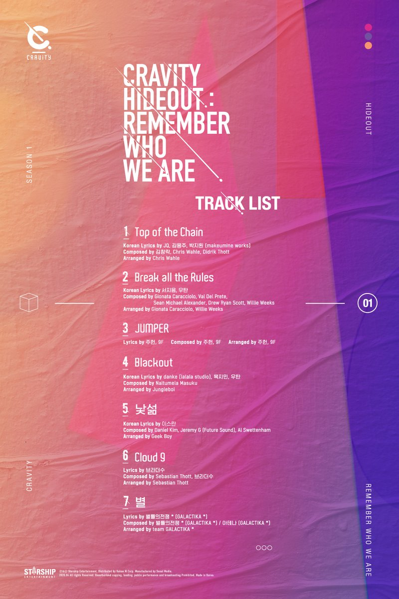 CRAVITY SEASON 1 <HIDEOUT> REMEMBER WHO WE ARE TRACK LIST  #CRAVITY #크래비티 #HIDEOUT #REMEMBER_WHO_WE_ARE