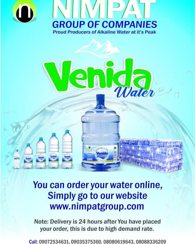 We are always a click or a phone call a away .. Your safety is our priority .. All your table water needs .. You can place your order via these numbers :  07072534631, 09035375360, 08080619643 or on our website : http://www.nimpatgroup.com  #abuja #abujabusiness #ordernowpic.twitter.com/SqvHBbaCKM