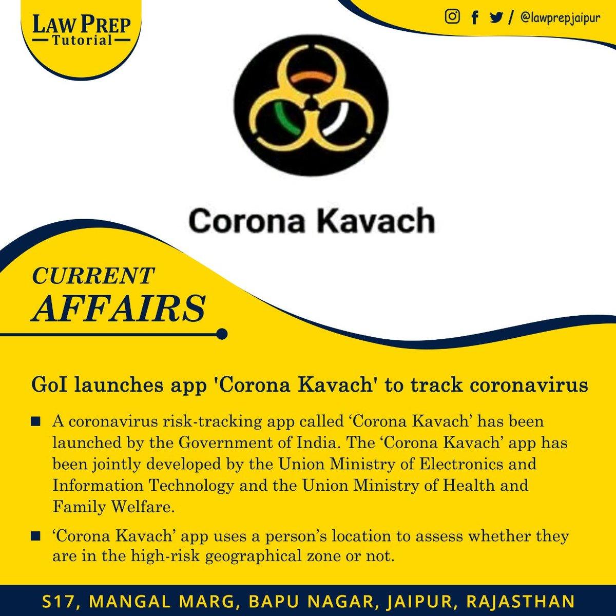 Stay connected for more such Current Affairs.  #LawPrepJaipur #LawPrep #CLAT2020 #CurrentAffairs #GoI #GovernmentOfIndia #CoronaKavach #CoronaVirus #Covid19 #CoronaVirusIndia #Covid19Outbreak #Lockdownpic.twitter.com/e0XbkTAmR7