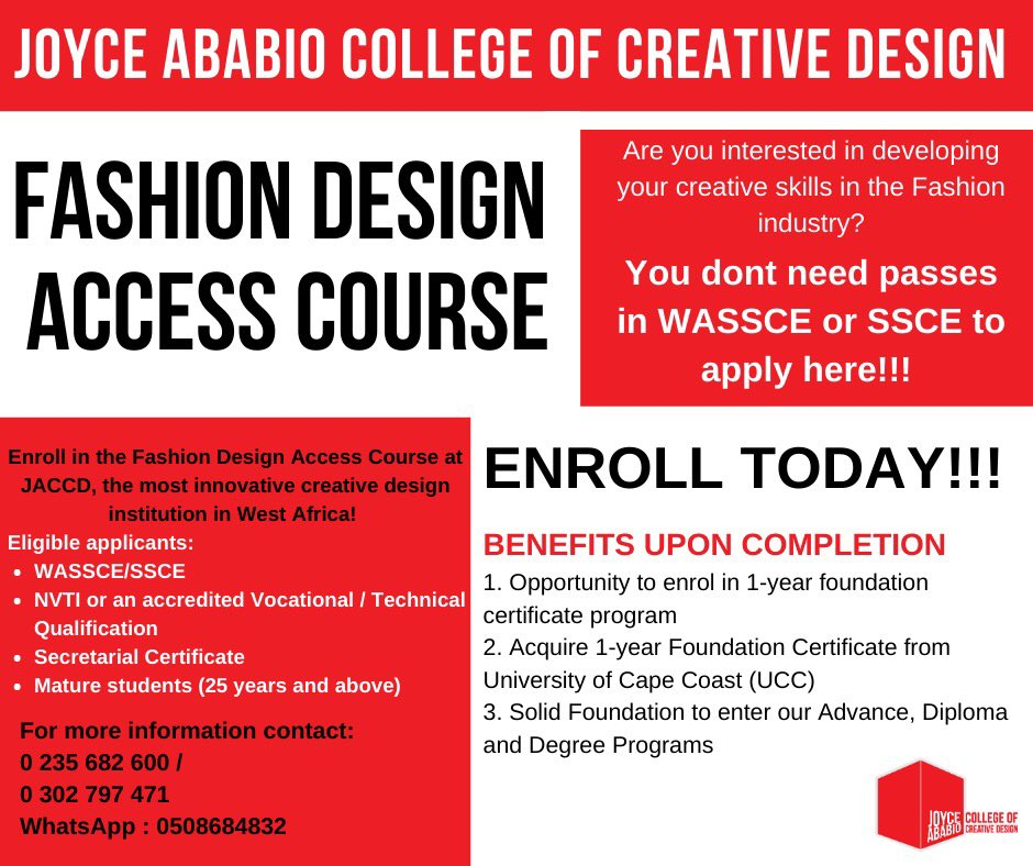 Joyce Ababio College Of Creative Design On Twitter Admissions Admissions Admissions Have You Completed Shs And You Have E8 Or F9 In Your Mathematics English And Integrated Science But You Are Looking