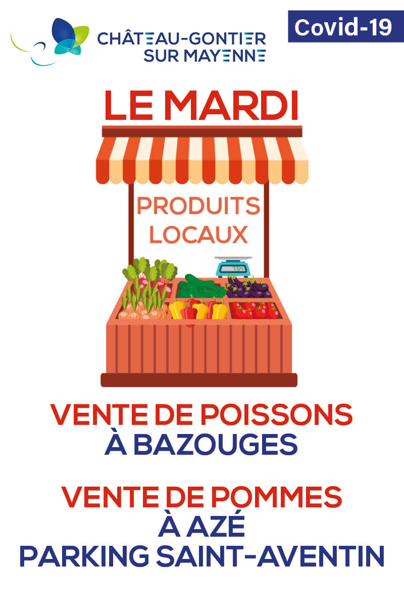 PRODUITS LOCAUX  Ce mardi, quatre producteurs locaux vous accueillent en ville, dans le respect des précautions sanitaires que vous connaissez. Rendez-vous dès à présent et jusqu'à 12h30, aux quatre coins de #ChâteauGontier sur #Mayenne !  #BienManger #Confinementpic.twitter.com/jAMt2p05Xa