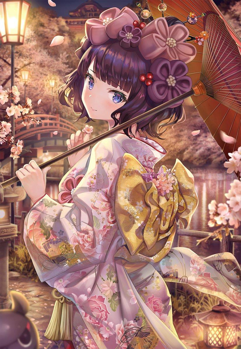 「桜の前で淑やかにしてりゃあ、おれも少しは様になってるかい、ますたあ殿?」夜桜とお栄ちゃんです🌸