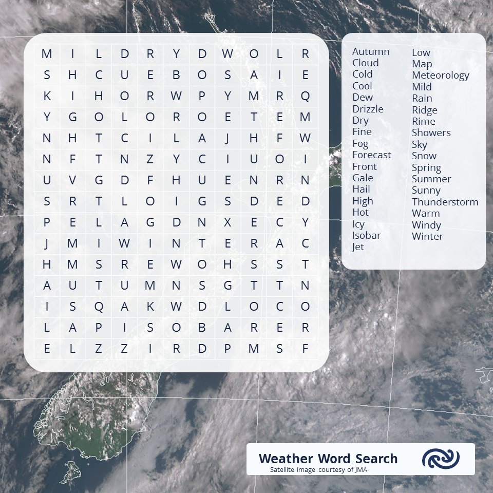 @EQCNZ Took a bit of time to make our contribution to #StayHomeNZ, but here is a Weather Word Search for you to try. Background picture is from 5pm today (courtesy of JMA) ^AG https://t.co/1gpuiEUWHU