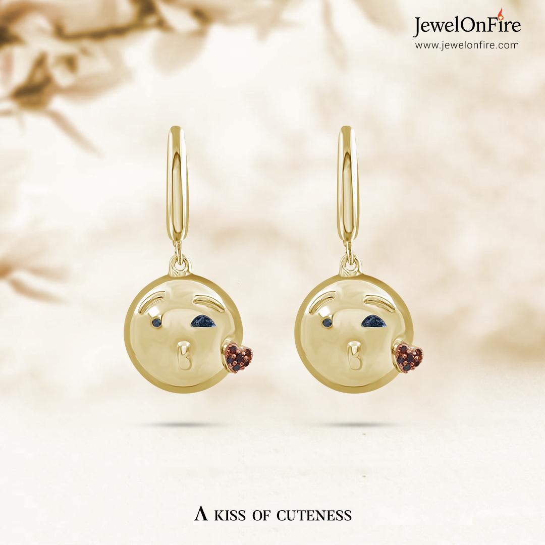 There's always a reason to smile.  #earrings #emojiearrings #kissemojiearrings #cuteearrings #diamond #diamonds #genuinediamond #diamondjewelry #diamondlover #jewels #jewelry #women #birthstone #jewelryshop #jewelrylove #jewelrystore #jewelrydesign #sale #JOF #JewelOnFire