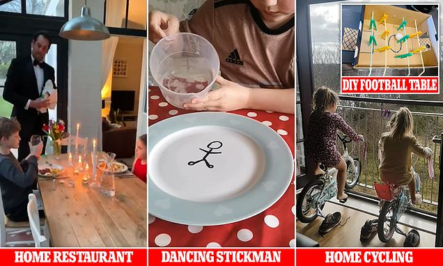 LATEST NEWS: Parenting, lockdown style! Mothers and fathers share their inventive hacks for keeping children entertained - including homemade peloton bikes, DIY football tables and a posh 'restaurant' in the kitchen. pic.twitter.com/AwIwLGvWdQ
