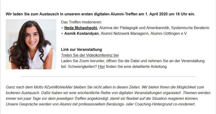 #Zuhause. Und jetzt? | #Alumni Göttingen Online: Erstes digitales Alumni-Treffen am 1. April 2020 um 16 Uhr. Neda Mohagheghi, Alumna der Pädagogik und Amerikanistik, Systemische Beraterin, moderiert. Interessierte sind herzlich eingeladen: https://bit.ly/2wPx9Jf #wiwiunigoepic.twitter.com/aXPMGChLLi