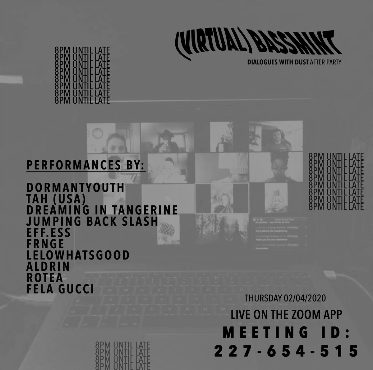 Guess what's going down on Thursday???  Back at it again with my favs for the Dialogues With Dust afterparty on Zoom. Brought to you by the Graduate School of Architecture at UJ. We on at 8pm, with a literally experimental, cross-timezone B2B with myself & Tah   Tune in @ 8 pic.twitter.com/2oBZHBPEKc