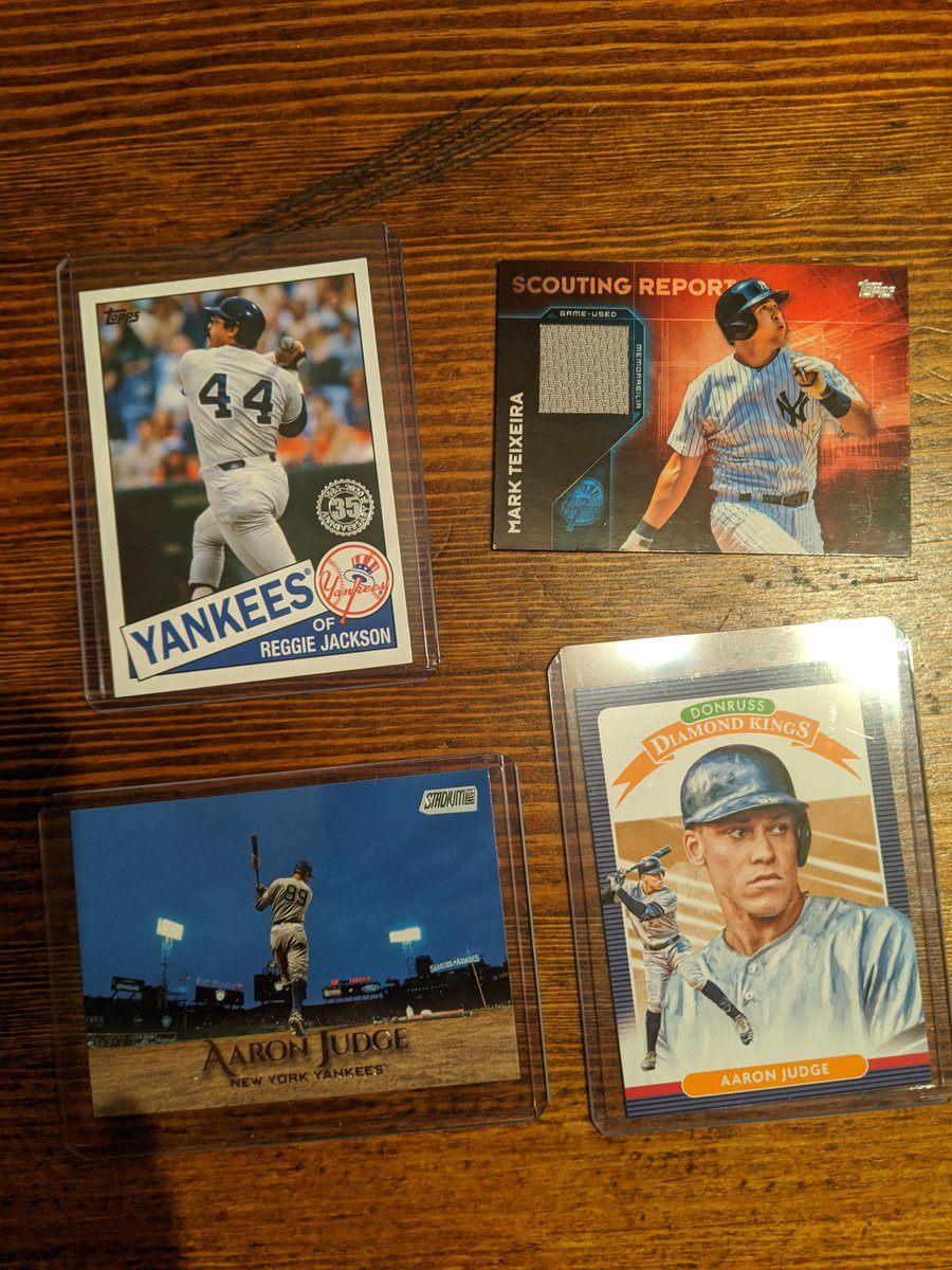 #Yankees lot:  Teixeira Relic: $4 Judge DK: $3 Judge Stadium Club: $1 First buyer will get the Reggie Jackson Heritage included for free.  (+$1 PWE / $3 BMWT)  @HobbyConnector @OnReplin