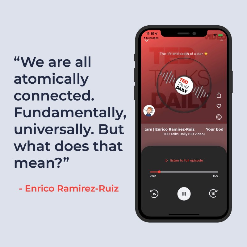 Use QlipCast to create qlips from your most insightful guests - like this awesome quote from @ucsc professor Enrico Ramirez-Ruiz on the @TEDTalks Daily pod about how the death of stars leads to life in the universe! #scienceiscool #astronomy #qlipcast #socialaudiopic.twitter.com/c7ncvJ0mCp