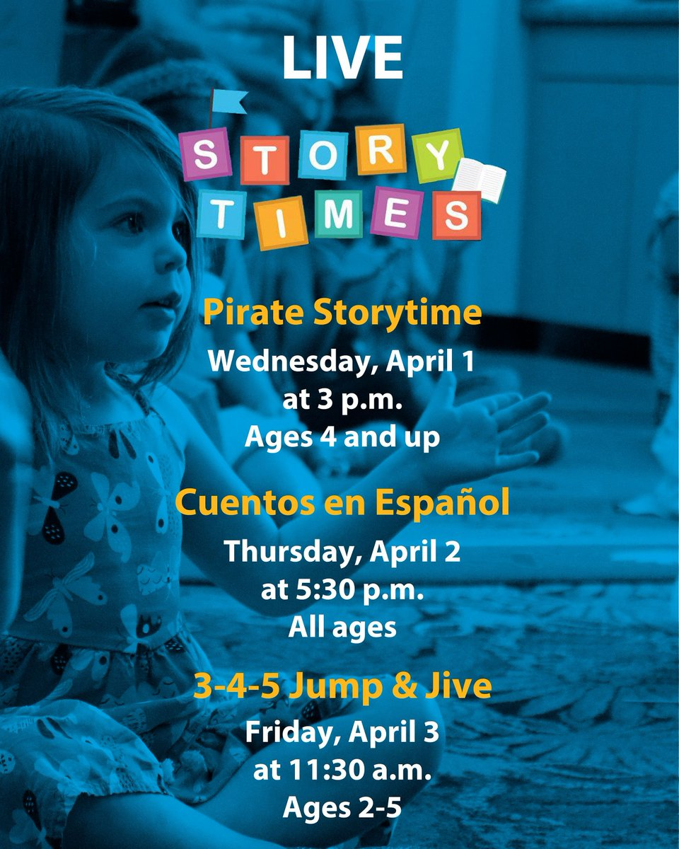 Join us for Live Pirate Storytime, Cuentos en Español and 3-4-5 Jump & Jive Storytime this week!  You can watch Live Storytimes on the Anaheim Library's Facebook or Instagram. #cityofanaheim #thisisanaheim #anaheim #stayhome #livestream
