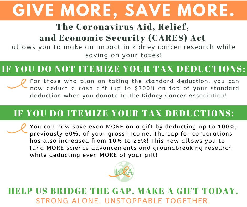Kidney Cancer On Twitter Make A Gift To Take Advantage Of These New Benefits From The Cares Act Https T Co D9mz7lbzsh To Further Learn About How The Bill Affects Taxpayers Nonprofits And Corporate Giving