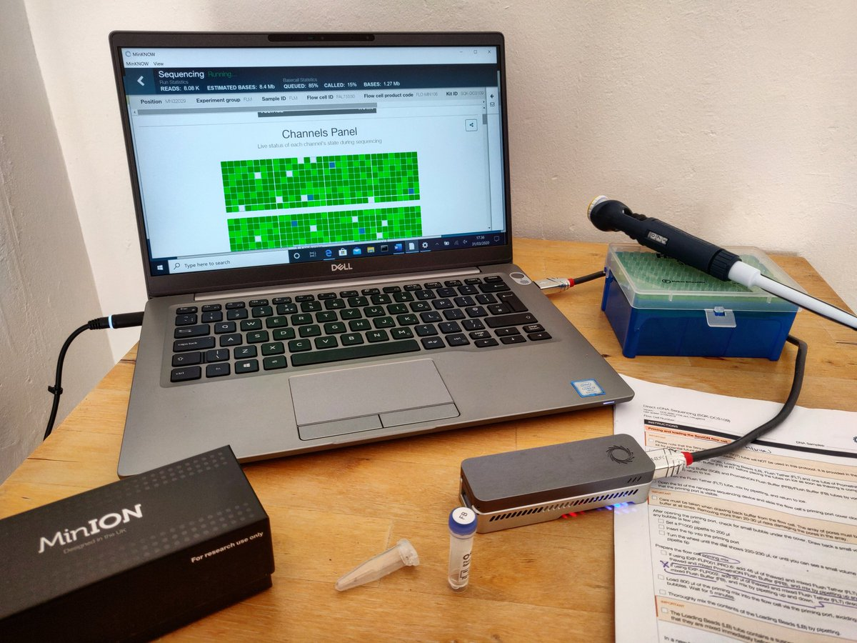 Pandemic or not, the MinION is running💪🏼👩🏽🔬 @nanopore