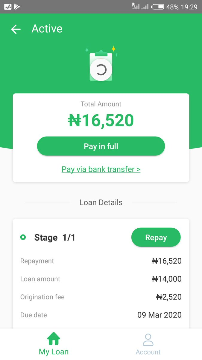 Since 10/3/2020, N6616 was deducted twice from my a/c. I was to payback N16,520 loan, due date was on the 9th of March. Paid N9k and N6616 to blue ridge from my opay wallet.Then another N6616 was deducted from my first bank a/c without my authorisation to Rave/Lekki phase1/Ngpic.twitter.com/YEBEEvuhRR