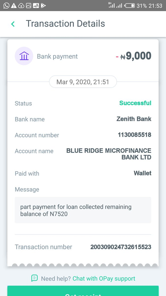 I have been sending mails since 27th of march, 2020. Still it hasn't been rectify. Here is the N9k payment to blue ridge microfinancepic.twitter.com/R2cqfj4eVH
