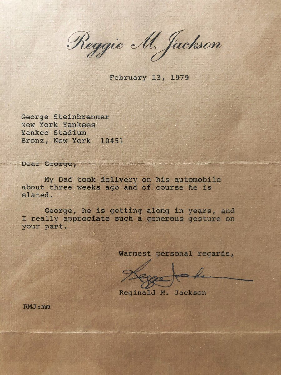 This letter from Reggie Jackson to George Steinbrenner thanking him for a car for his dad