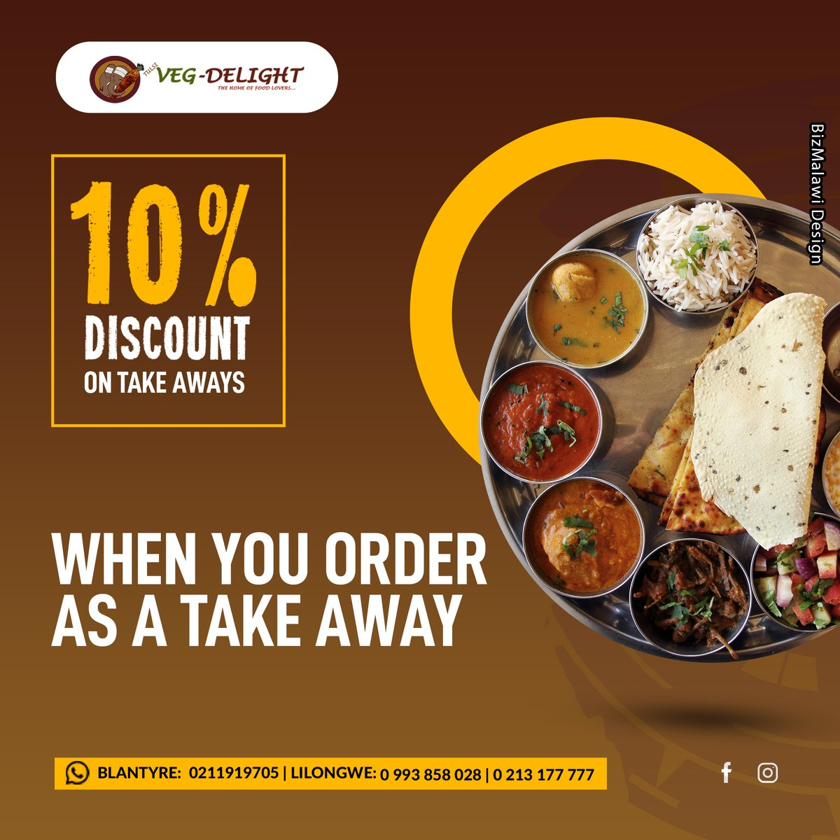 Veg Delight Imagine eating this at home. 10% Discount on takeaway. FOR RESERVATIONS CONTACT US: Blantyre: 0211919705  Lilongwe: 0993858028 / 0213177777 More info:  #VegDelight #GoodFood #TastyFood #malawi #bizmalawi #mzuzu #lilongwe #blantyre