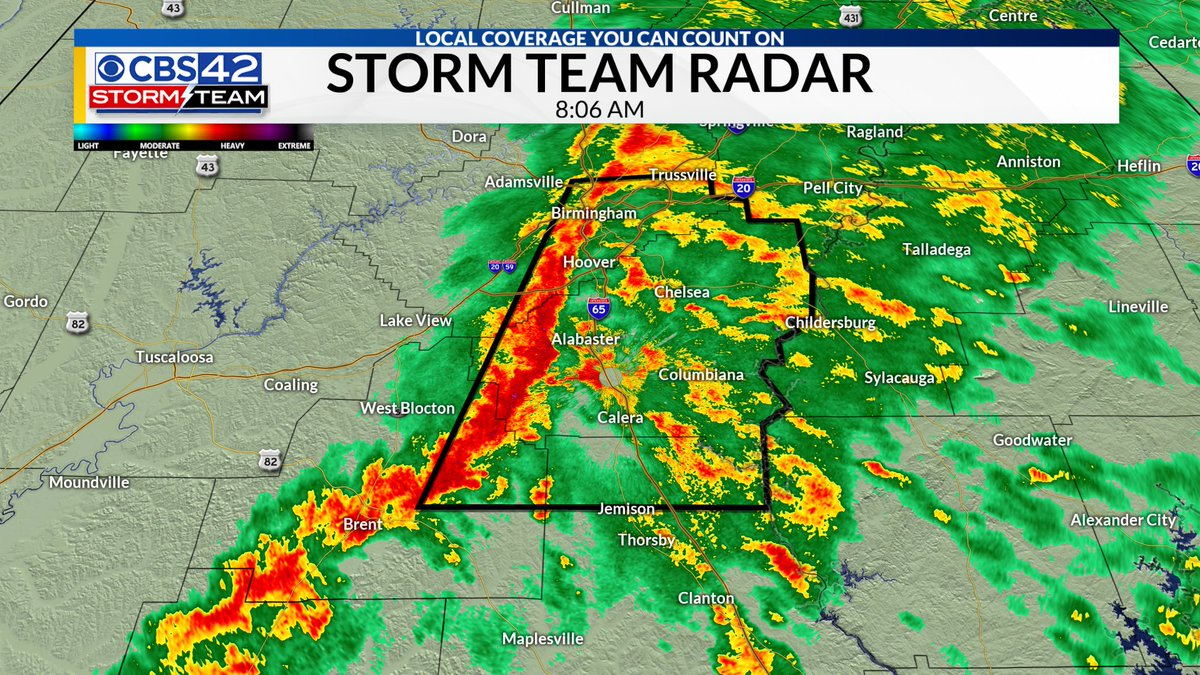 SEVERE T-STORM WARNING for most of Shelby and part of Jefferson, Bibb, Chilton Counties until 8:45. Damaging winds look to be the main threat. #alwx